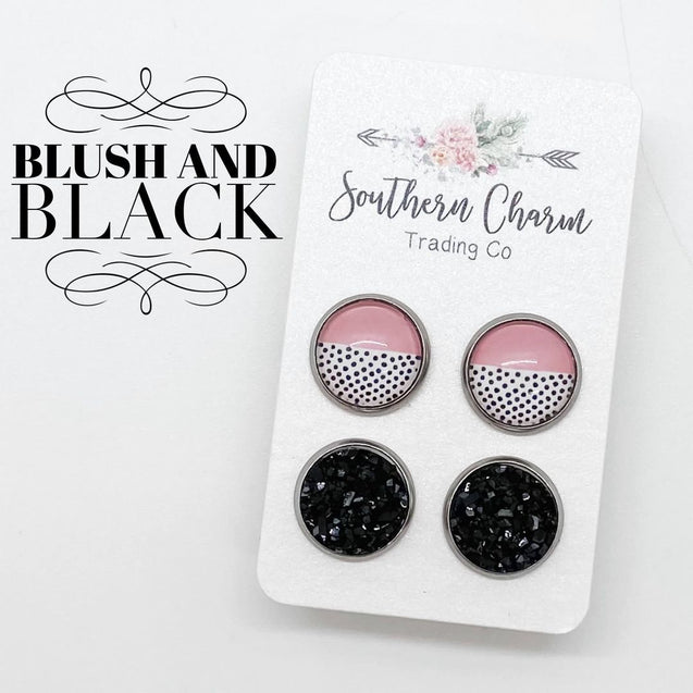 Blush Polka Dot & Black Double Stud Earring Set