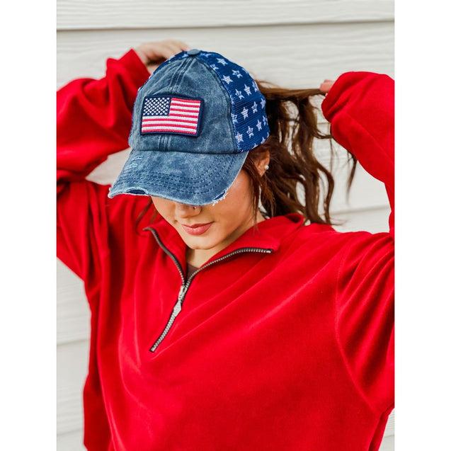 American Flag Patch Baseball Cap w/ Star Mesh Back