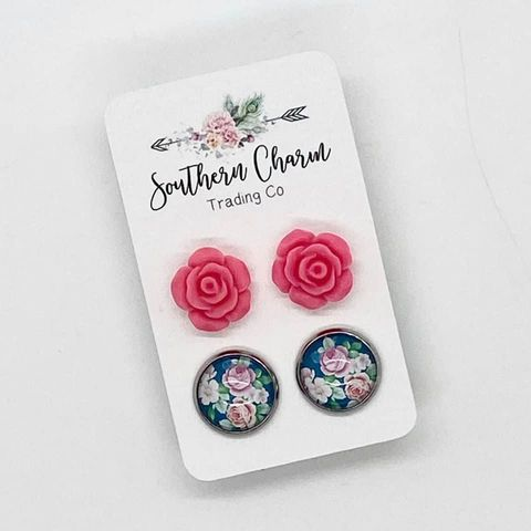 Pink Rose Double Stud Earring Set