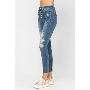 Judy Blue Destroyed Button Fly Skinny Jeans - Style 82171 - Online Exclusive