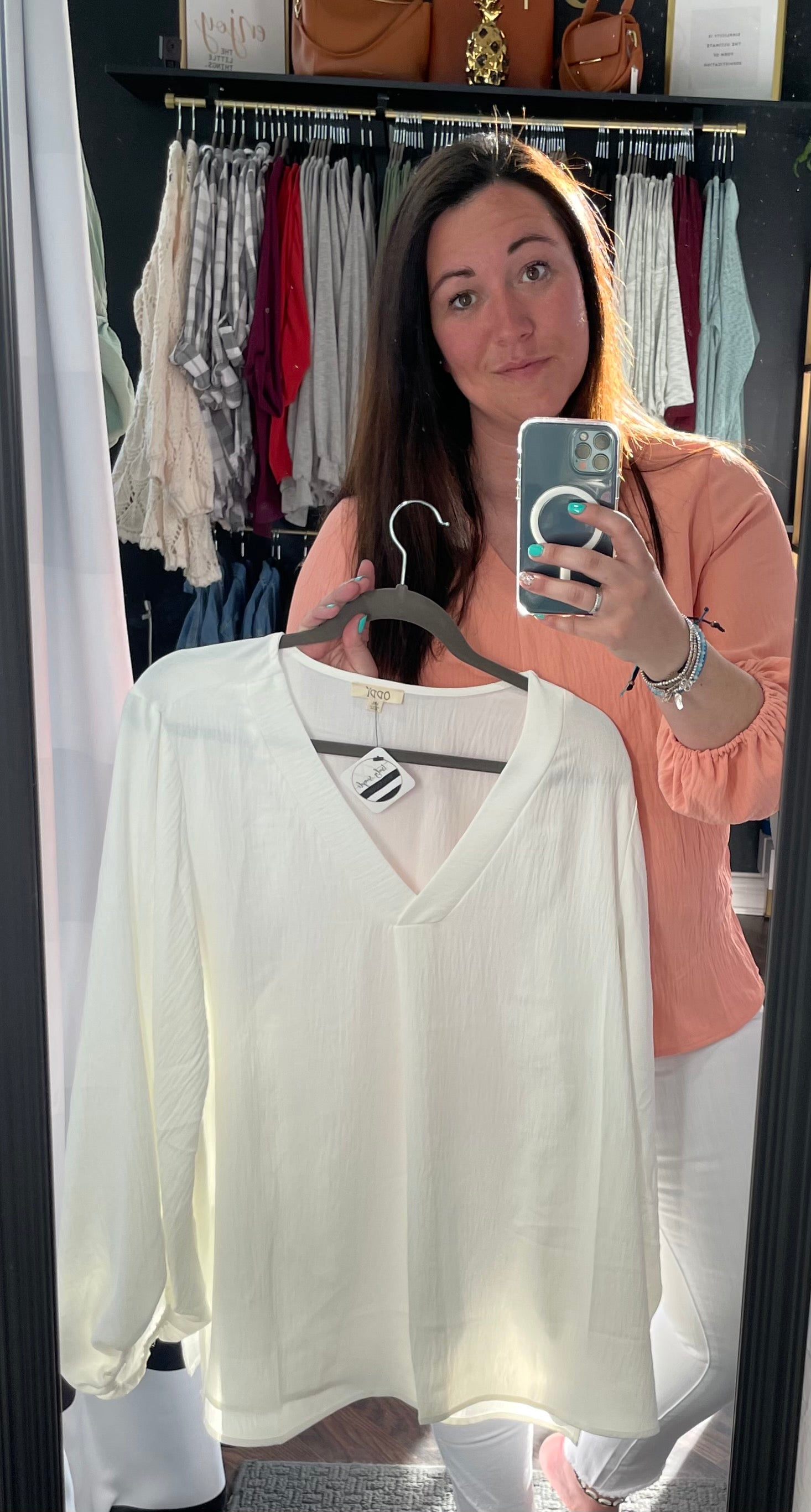 Off White V-Neck Blouse