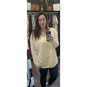 Pale Yellow Long Sleeve Top