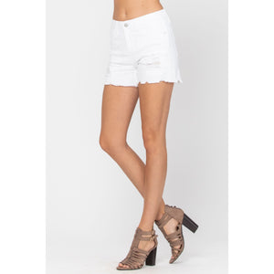 Judy Blue White Lace Patch Shorts - Style 150041