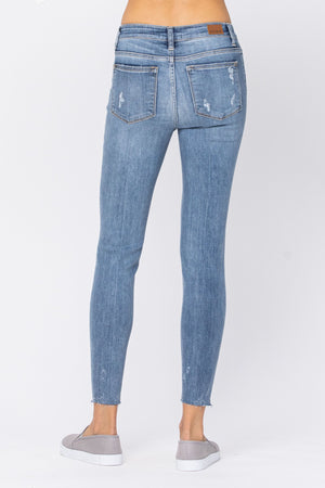Judy Blue Distressed Skinny w/ Raw Hem Jeans - Style 82215