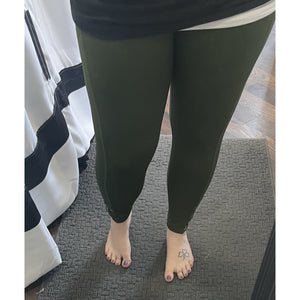 Army Green Lattice 7/8 Leggings