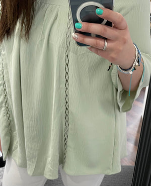 Sage Lattice Accented Woven Tunic Blouse