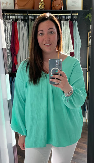 Mint Double V Blouse