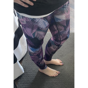 Purple Feather Print Leggings