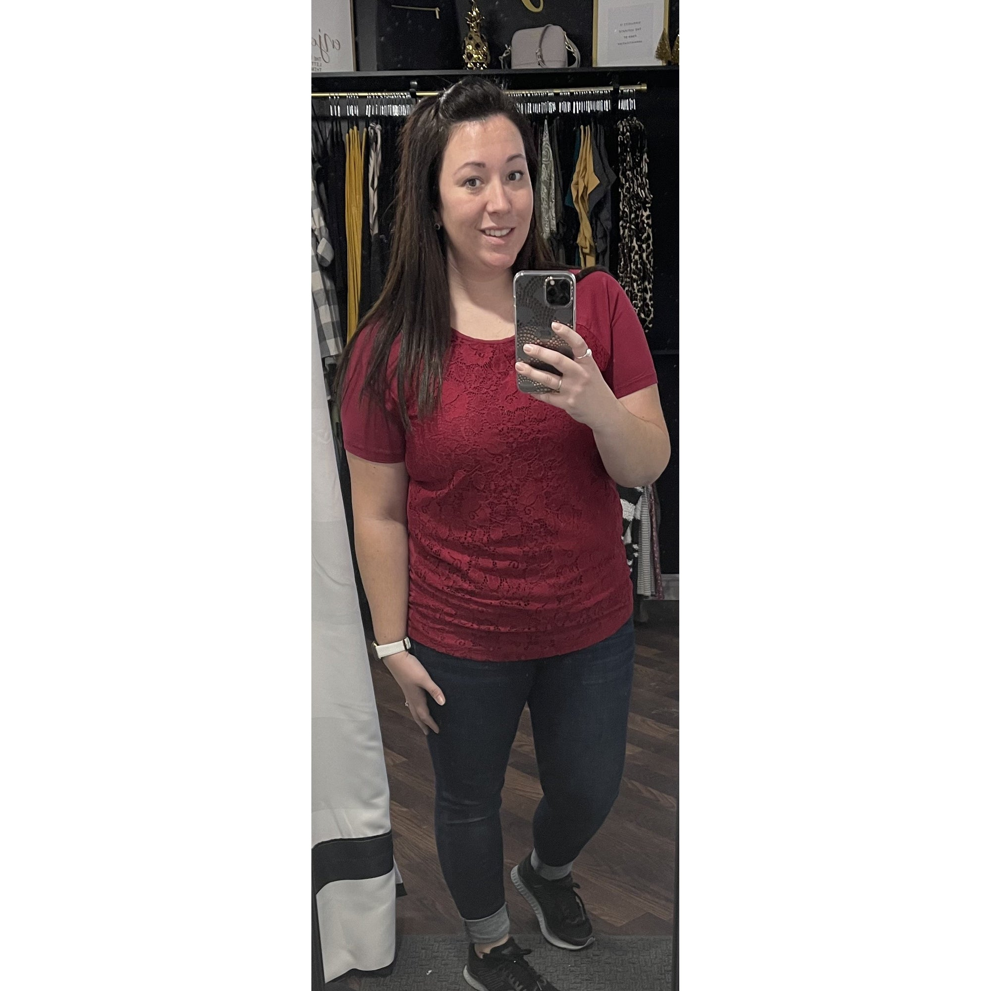 Burgundy Lace Front Short Sleeve Top - Online Exclusive