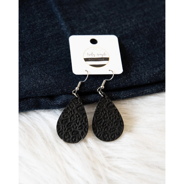 Black Wooden Cheetah Dangle Earrings