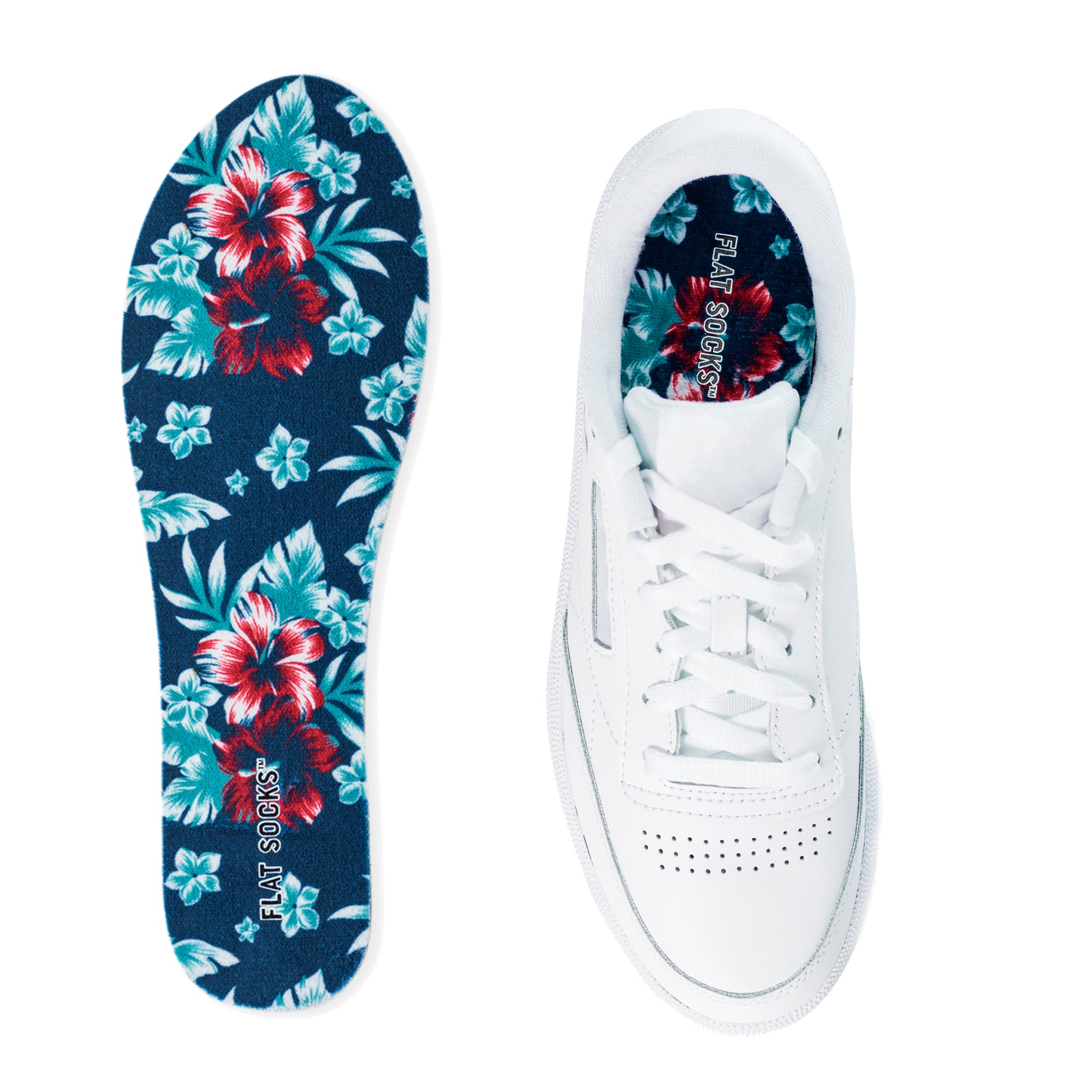 Hawaiian Floral Terry Flat Socks