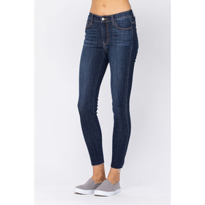 Judy Blue Non-Distressed w/ Raw Hem Skinny Jeans - Style 82201