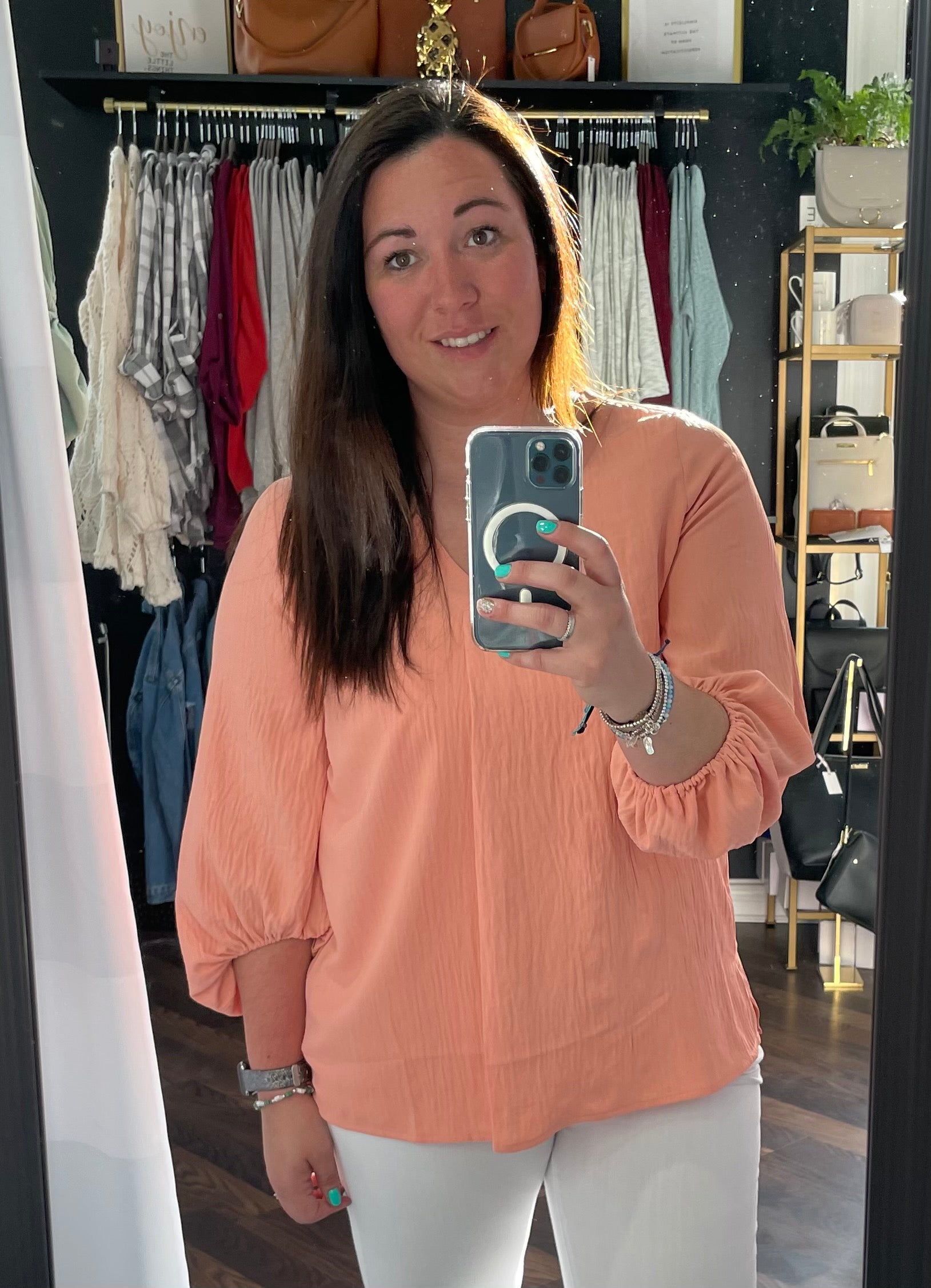 Peach V-Neck Blouse