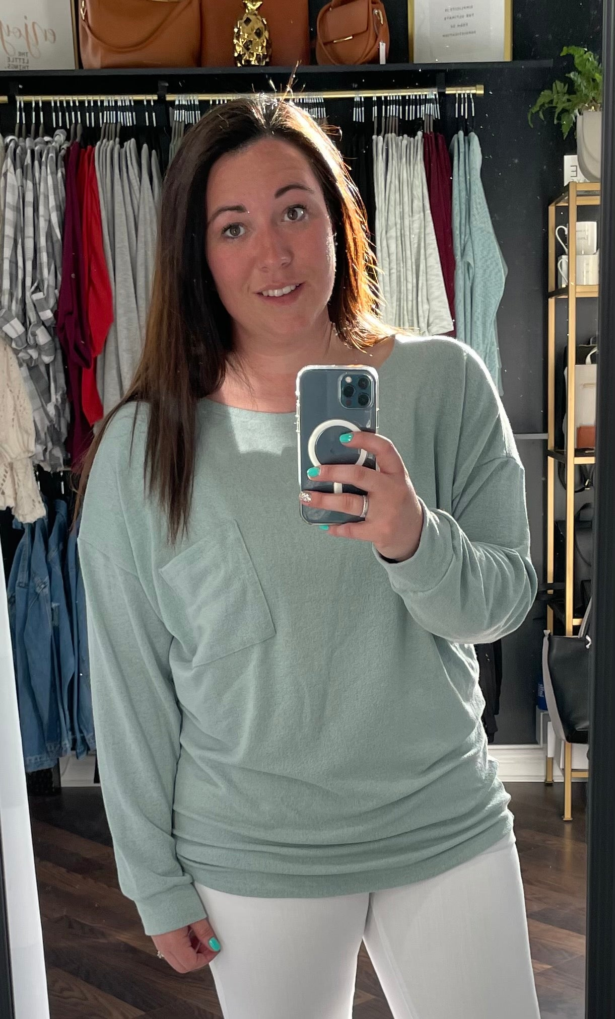 Sage Long Sleeve Top w/ Pocket Detail