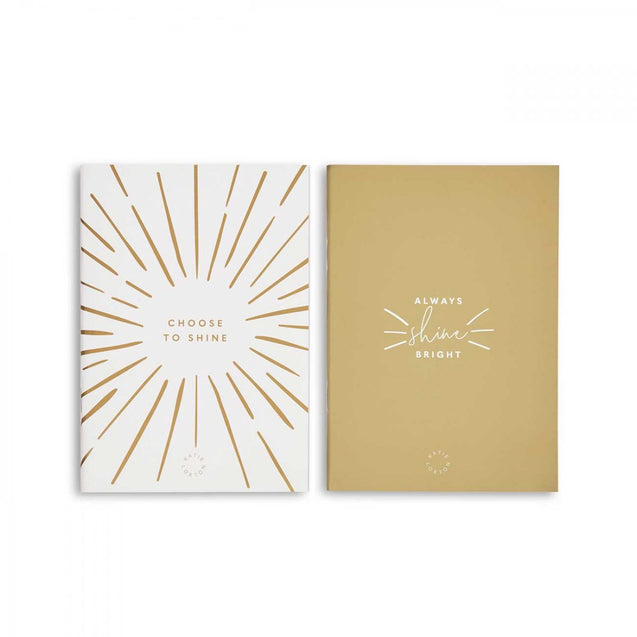 Katie Loxton Duo Notebook Pack - White & Gold