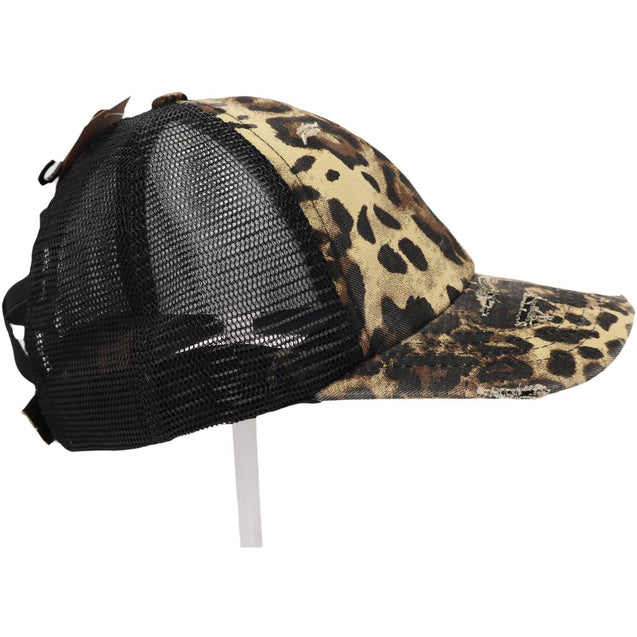 Leopard Criss Cross Ponytail Hat w/ Mesh Back