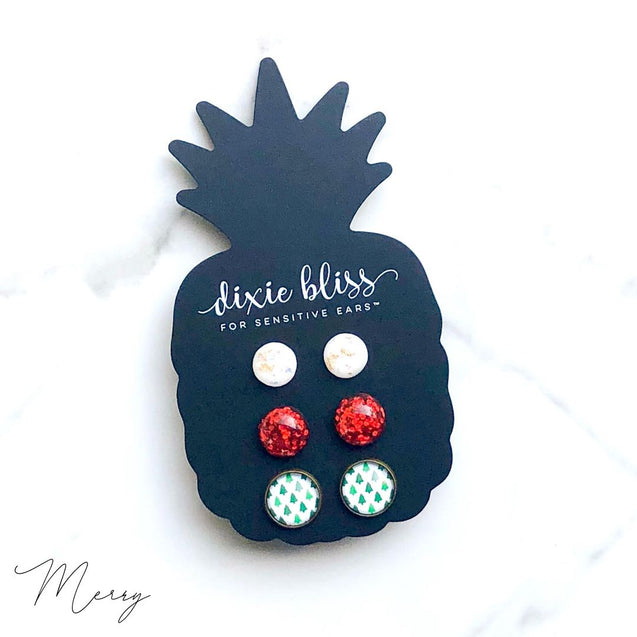 Merry Triple Stud Earring Set