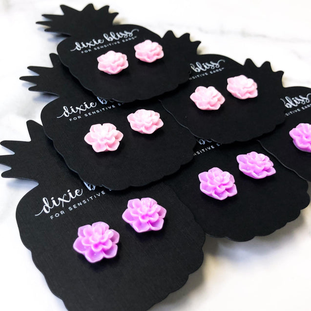 Tranquil Succulent Single Stud Earring Sets - Multiple Colors