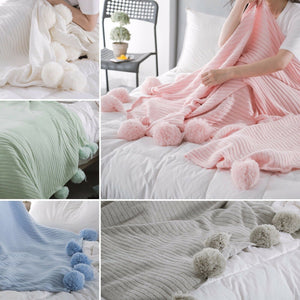 100% Cotton PomPom Knitted Blanket 150x200cm Home Decor Bed Spread Throw Rug