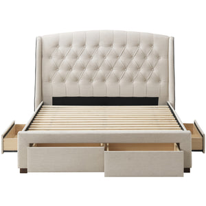 Beige Audrey Tufted Wingback Bed