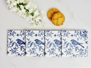 Blue Bird Ceramic Coasters Set of 4 Blue White Hamptons Coastal Beach Home Decor