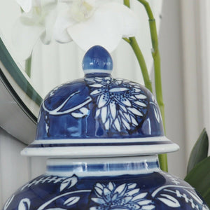 Blue Jardin Ceramic Ginger Jar Blue and White 31cm Hamptons Coastal Home Decor
