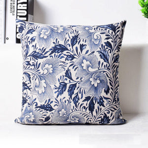 Decorative Oriental Blue Floral Linen Cushion Cover/Pillow Case