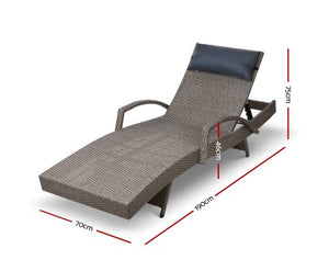 Sun Lounge Setting Grey Wicker Day Bed Outdoor Furniture Garden Patio