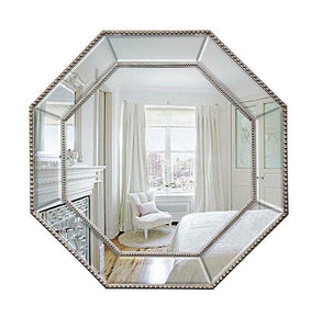 French Octagon Traditional Silver Mirror Lux Beaded Hexagon Wall Mounted 78x78cm