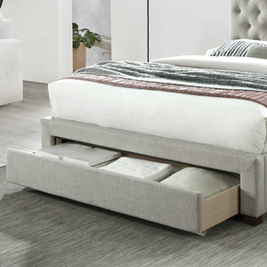 Grey Kiev Upholstered Bed Frame with Storage