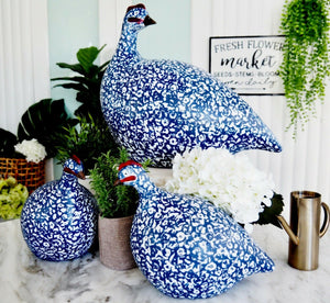 Guinea Fowl Pintades Blue White Resin Large & Small Hamptons Coastal Home Decor SORRY OUT OF STOCK