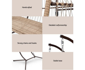 Outdoor Furniture Hanging Swing Chair Stand Egg Hammock Rattan Wicker Latte