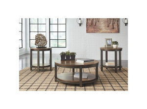 Logan Round 3 Piece Indoor Timber Coffee Table and Side Table Set