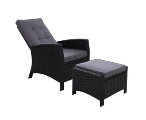 Sun lounge Recliner Chair Wicker Lounger Sofa Day Bed Outdoor Furniture Patio Garden Cushion Ottoman Black