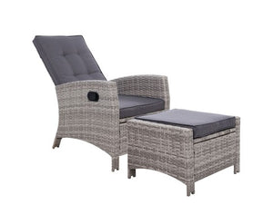 Sun lounge Recliner Chair Wicker Lounger Sofa Day Bed Outdoor Furniture Patio Garden Cushion Ottoman Grey