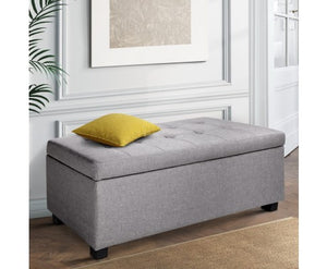 Collaroy Large Fabric Storage Ottoman - Light Grey