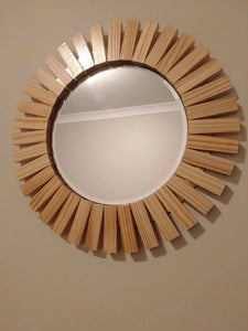 Round Wall Mirror Sunburst Modern Decorative Treated And Polished Timber