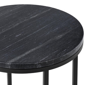 40cm Black Serena Round Italian Carrara Marble Side Table