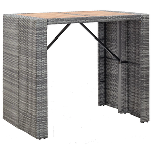 VidaXL 5 Piece Outdoor Bar Set Poly Rattan And Acacia Wood Gray - sweet pea interiors