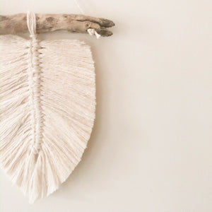 Ivory Mini Macrame Feather Wall Hanging Wood Decor Nursery Office Bohemian Aus