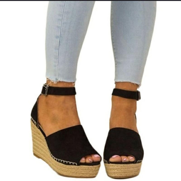 High Heel Hemp Rope Casual Sandals - Chicshoeshop