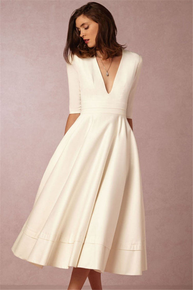 Daily 3/4 Sleeve Paneled Prom Dress - Chicshoeshop