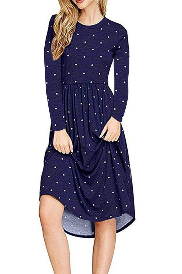 Long Sleeve Polka Dot Fall Dress - Chicshoeshop