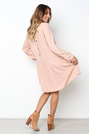 Casual Long-sleeved Cotton Linen Dress - Chicshoeshop