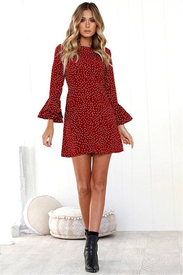 Flare Sleeve Polka Dot  3/4 Sleeve Fall Dress - Chicshoeshop