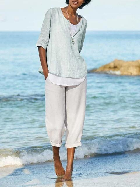 Summer Holiday Beach Blue Linen Pants Women