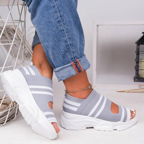 2019 Stylish Hollow Out Peep Toe Chunky Comfy Sandals