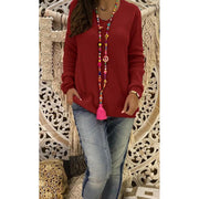 Pure Color Long Sleeve V Neck Women Plus Size Sweater
