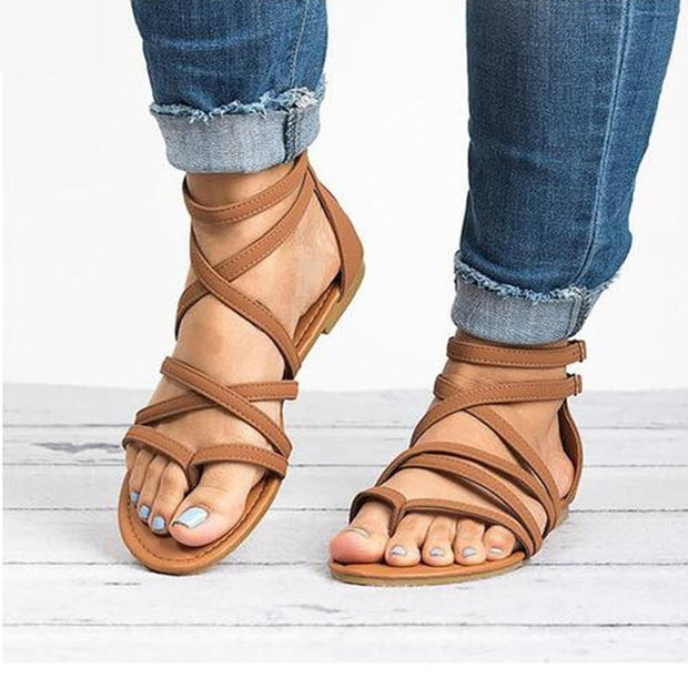 Clip Toe Cross-Tie Casual Sandals - Chicshoeshop