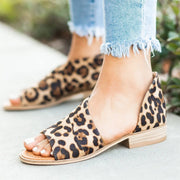 Leopard Peep Toe Side Hollow Low Chunky Sandals